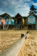 Beach huts on shoreline