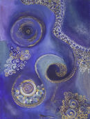 Blue Swirls. 12 by 16 inches (unframed). Acrylic and mixed media on board.