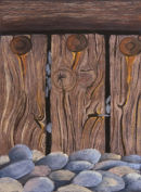 Breakwater and Pebbles (Pastel). 16 by 20 inches Mounted, unframed.