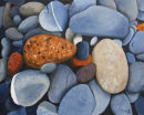 Pebbles. Size 22 by 26 inches. Acrylic on Canvas Board.