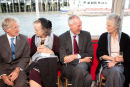 Guests on boat at wedding reception