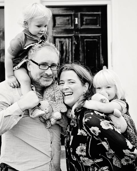 Family in front of door