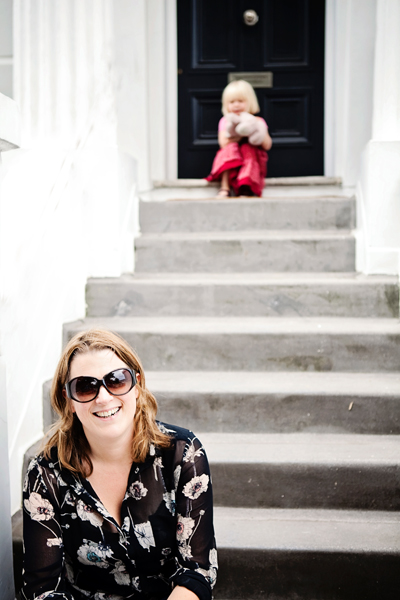 Mother and daughter on steps of an Islington House