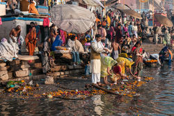Bathing in the Ganges at Sunrise, Varanasi