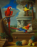 'Grand Macaws No.1', Oil on Canvas, 42
