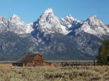Tetons and Mormon Barn from Gros Ventre Rd.